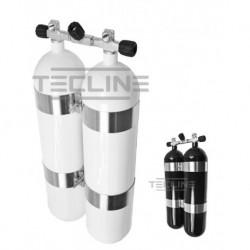 Zestaw 2 x 12L 171 mm, 232 bar, Eurocylinder, obejmy TecLine  wys.60 mm, gumowe gałki