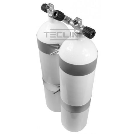 Zestaw 2 x 12L 171 mm, 232 bar, concave (płaskie dno), Eurocylinder, obejmy TecLine wys.60 mm, gumowe gałki