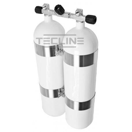 Zestaw 2 x 12L 171 mm, 300 bar, Eurocylinder, obejmy TecLine  wys.60 mm, gumowe gałki