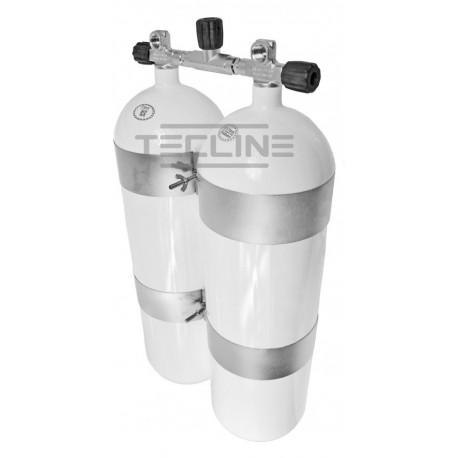 Zestaw 2 x 15L 203 mm, 232 bar, Eurocylinder, obejmy TecLine  75 mm, gumowe gałki