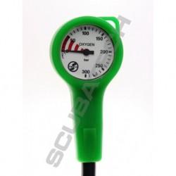 Manometr Scubatech S-Tech O2 300 bar, zielona obudowa, wąż 15 cm